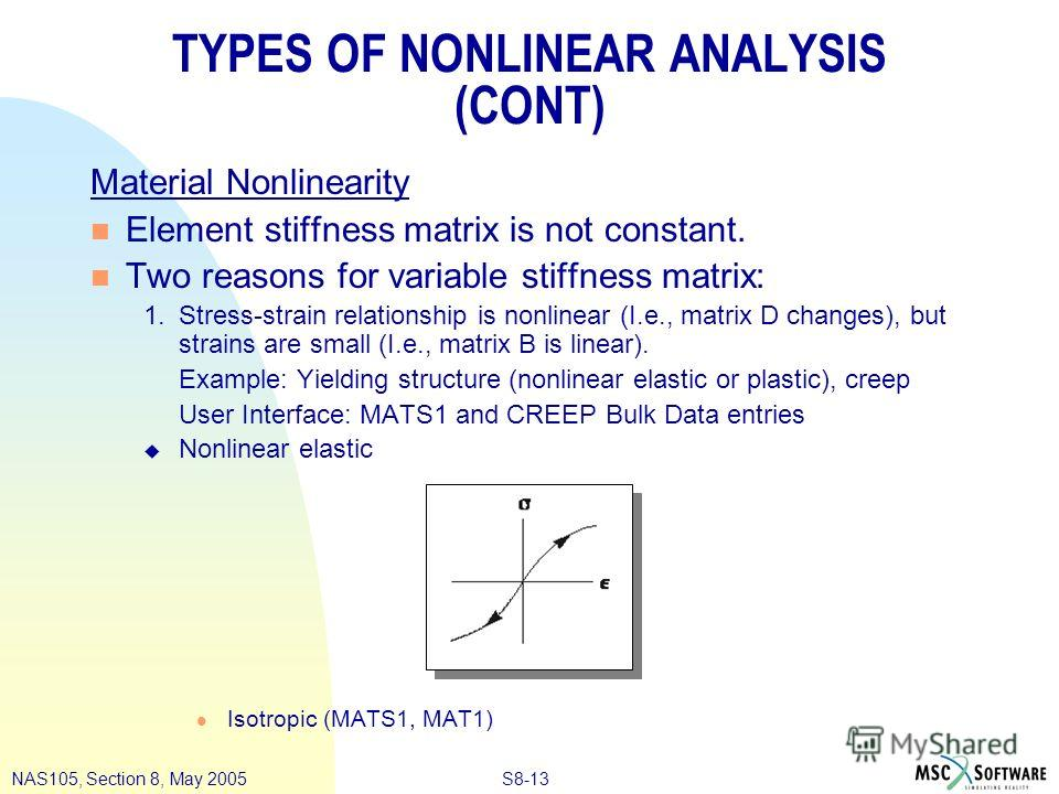 S8-13NAS105, Section 8, May 2005 TYPES OF NONLINEAR ANALYSIS (CONT) Material Nonlinearity n Element stiffness matrix is not constant. n Two reasons for variable stiffness matrix: 1.Stress-strain relationship is nonlinear (I.e., matrix D changes), but