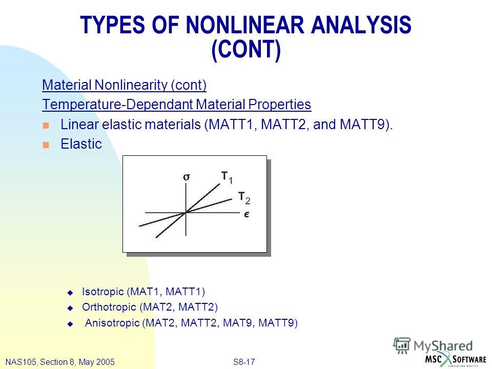 S8-17NAS105, Section 8, May 2005 TYPES OF NONLINEAR ANALYSIS (CONT) Material Nonlinearity (cont) Temperature-Dependant Material Properties n Linear elastic materials (MATT1, MATT2, and MATT9). n Elastic u Isotropic (MAT1, MATT1) u Orthotropic (MAT2,