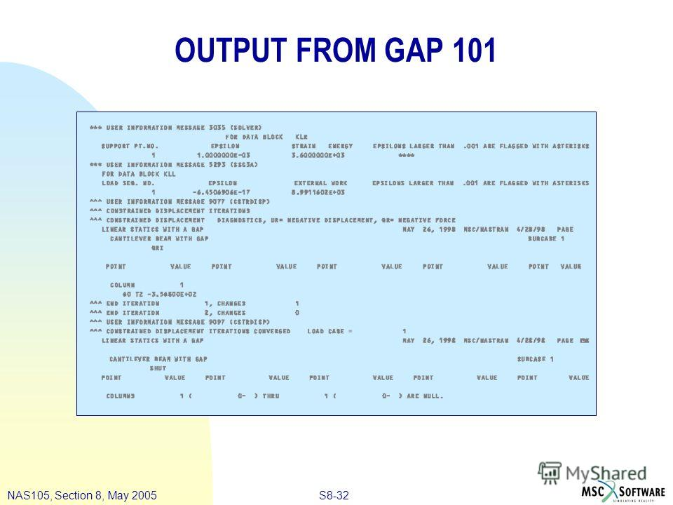 S8-32NAS105, Section 8, May 2005 OUTPUT FROM GAP 101