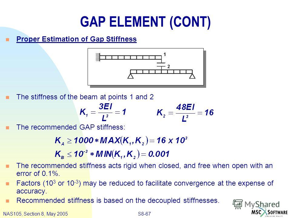 S8-67NAS105, Section 8, May 2005 GAP ELEMENT (CONT) n Proper Estimation of Gap Stiffness n The stiffness of the beam at points 1 and 2 n The recommended GAP stiffness: n The recommended stiffness acts rigid when closed, and free when open with an err
