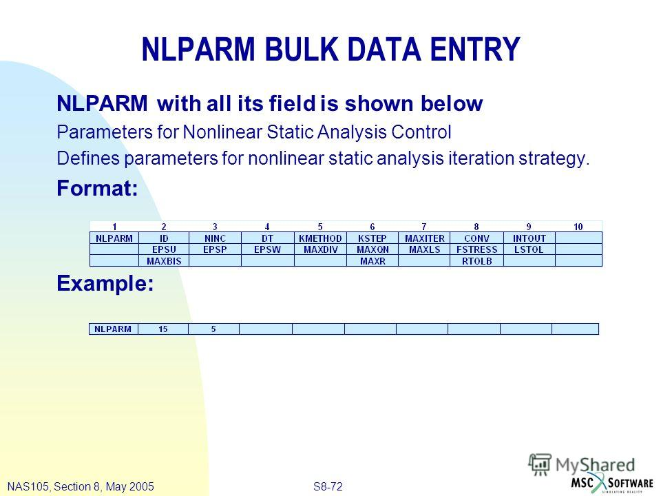 S8-72NAS105, Section 8, May 2005 NLPARM BULK DATA ENTRY NLPARM with all its field is shown below Parameters for Nonlinear Static Analysis Control Defines parameters for nonlinear static analysis iteration strategy. Format: Example: