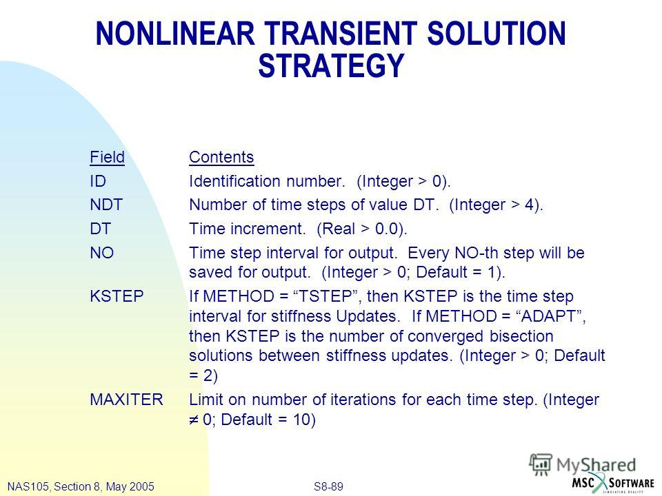 S8-89NAS105, Section 8, May 2005 NONLINEAR TRANSIENT SOLUTION STRATEGY Field Contents ID Identification number. (Integer > 0). NDT Number of time steps of value DT. (Integer > 4). DT Time increment. (Real > 0.0). NO Time step interval for output. Eve