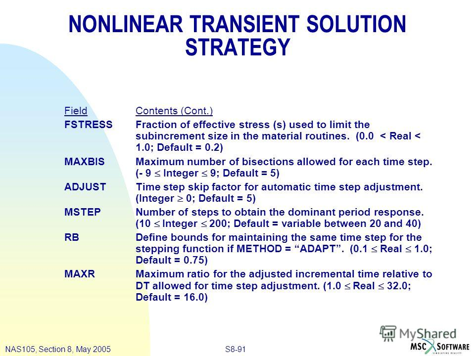 S8-91NAS105, Section 8, May 2005 NONLINEAR TRANSIENT SOLUTION STRATEGY Field Contents (Cont.) FSTRESSFraction of effective stress (s) used to limit the subincrement size in the material routines. (0.0 < Real < 1.0; Default = 0.2) MAXBISMaximum number
