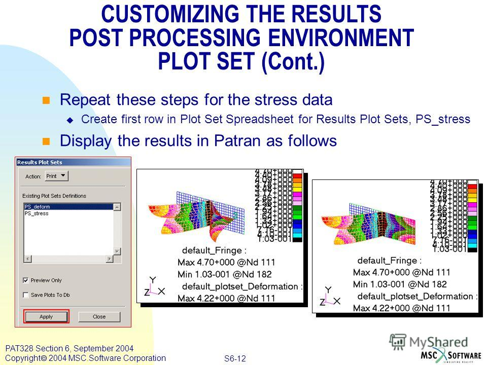Copyright ® 2000 MSC.Software Results S6-12 PAT328 Section 6, September 2004 Copyright 2004 MSC.Software Corporation CUSTOMIZING THE RESULTS POST PROCESSING ENVIRONMENT PLOT SET (Cont.) Repeat these steps for the stress data Create first row in Plot