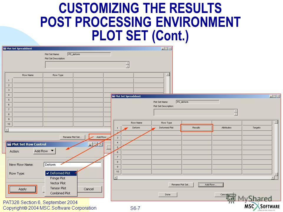 Copyright ® 2000 MSC.Software Results S6-7 PAT328 Section 6, September 2004 Copyright 2004 MSC.Software Corporation CUSTOMIZING THE RESULTS POST PROCESSING ENVIRONMENT PLOT SET (Cont.)