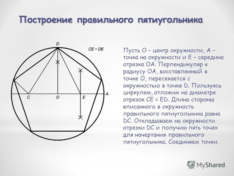 Построение правильного пятиугольника Пусть O – центр окружности, A – точка на окружности и Е – середина отрезка ОА. Перпендикуляр к радиусу ОА, восставленный в точке О, пересекается с окружностью в точке D. Пользуясь циркулем, отложим на диаметре отр