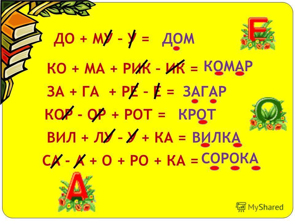 АЗ + БУ + КА = АП + ТЕ + КА = БА + НАН = БИ + ЛЕТ = БО + ЛО + ТО = ВОС + ХОД = ЛИ + СА = РЯ + БИ + НА = ВЕ + ТЕР = МО + РОЗ = АЗБУКА АПТЕКА БАНАН БИЛЕТ БОЛОТО ВОСХОД ЛИСА РЯБИНА ВЕТЕР МОРОЗ