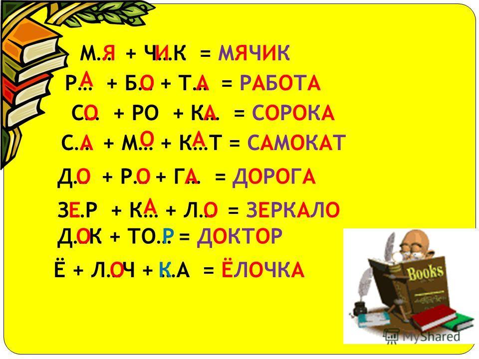 Я + ГО + ДА = ЯГОДА О + ЦЕН + КА = ОЦЕНКА И... + РУ… + К… = ИГРУШКАГША Р... + К… + ТА = РАКЕТААЕ У +ЛЫ… + …А = УЛЫБКАБК ПЕ..+ НЯ = ПЕСНЯС Р… + ДУ + ГА = РАДУГАА Д…С + К… = ДОСКА О А Т… + Ш… + Г… = ТИШИНАИИА