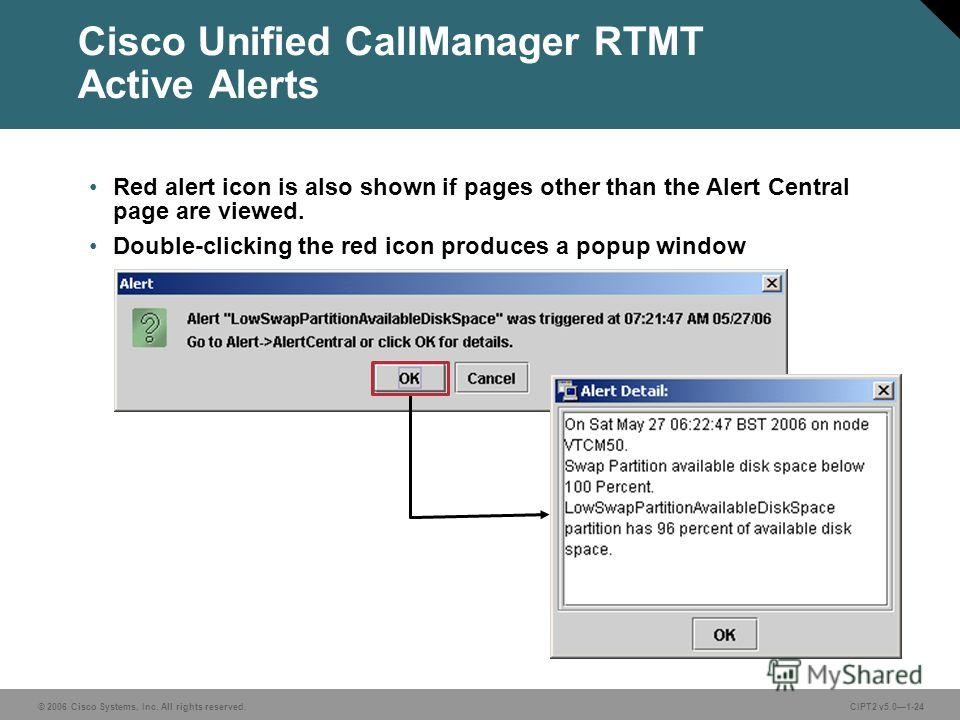 © 2006 Cisco Systems, Inc. All rights reserved.CIPT2 v5.01-24 Cisco Unified CallManager RTMT Active Alerts Red alert icon is also shown if pages other than the Alert Central page are viewed. Double-clicking the red icon produces a popup window