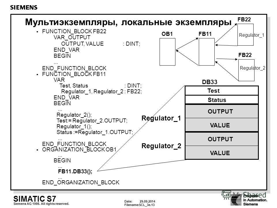 Date: 29.09.2014 Filename:SCL_3e.13 SIMATIC S7 Siemens AG 1998. All rights reserved. Мультиэкземпляры, локальные экземпляры FUNCTION_BLOCK FB22 VAR_OUTPUT OUTPUT, VALUE : DINT; END_VAR BEGIN... END_FUNCTION_BLOCK FUNCTION_BLOCK FB11 VAR Test, Status