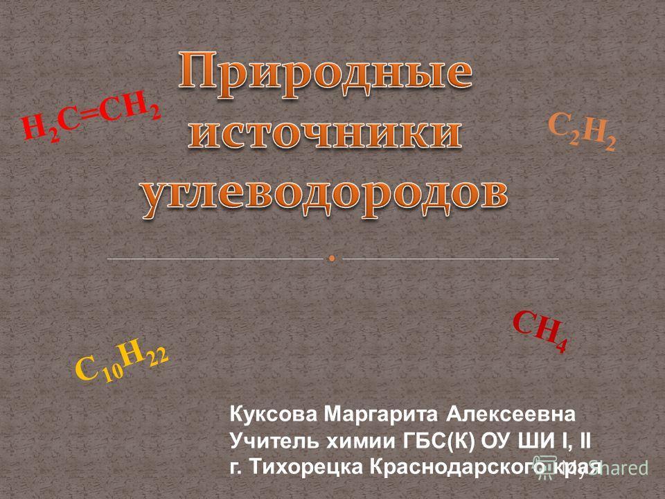H 2 C=CH 2 C 10 H 22 CH 4 C2H2C2H2 Куксова Маргарита Алексеевна Учитель химии ГБС(К) ОУ ШИ I, II г. Тихорецка Краснодарского края