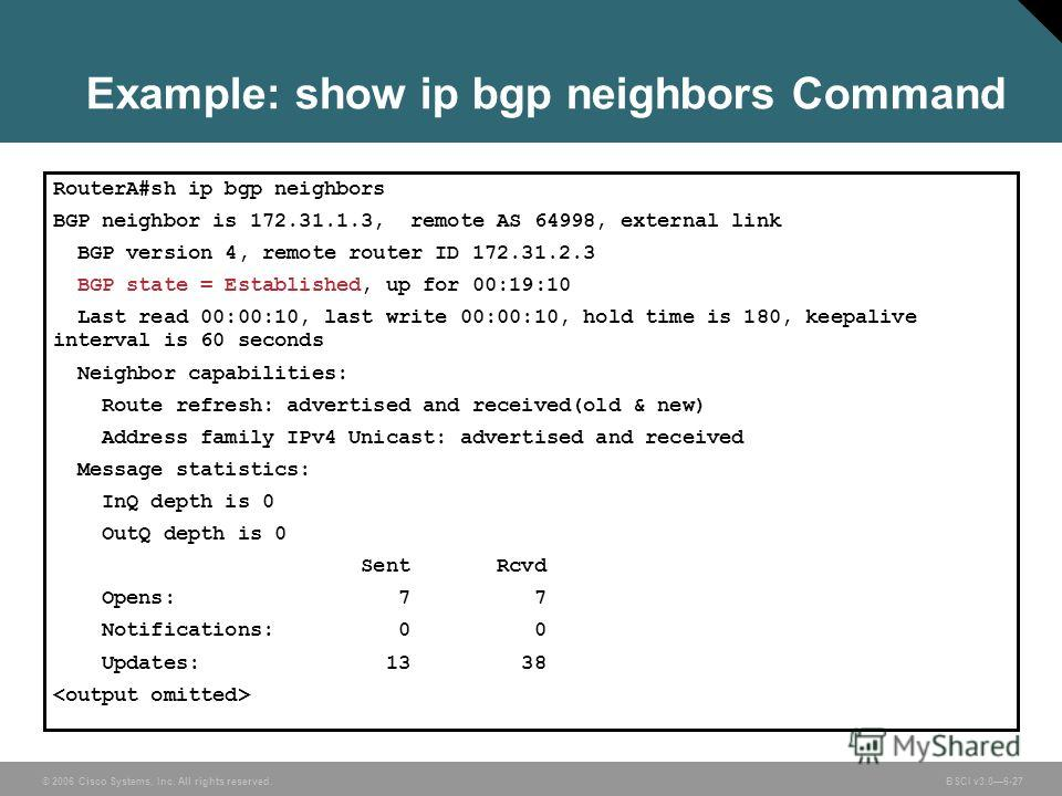 © 2006 Cisco Systems, Inc. All rights reserved. BSCI v3.06-27 RouterA#sh ip bgp neighbors BGP neighbor is 172.31.1.3, remote AS 64998, external link BGP version 4, remote router ID 172.31.2.3 BGP state = Established, up for 00:19:10 Last read 00:00:1