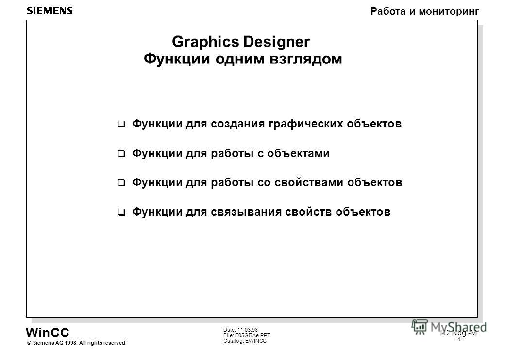 WinCC Работа и мониторинг Siemens AG 1998. All rights reserved.© TC Nbg.-M. - 4 - Date: 11.03.98 File: E05GRAe.PPT Catalog: EWINCC Graphics Designer Функции одним взглядом Функции для создания графических объектов Функции для работы с объектами Функц
