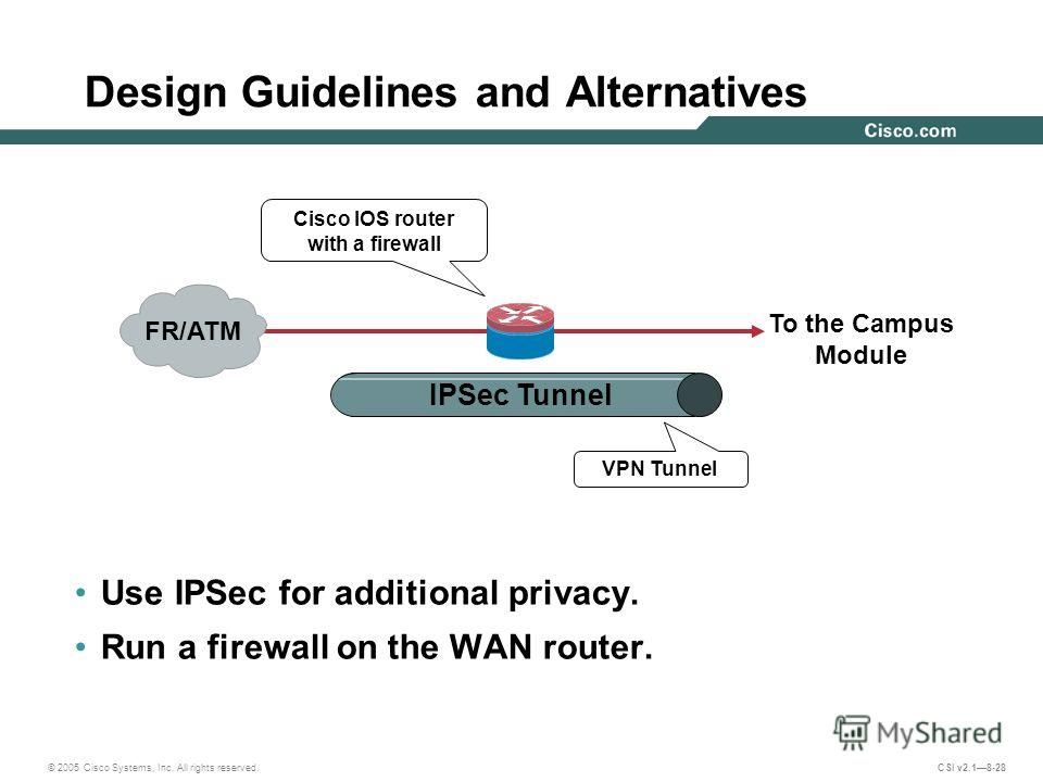 © 2005 Cisco Systems, Inc. All rights reserved. CSI v2.18-28 Design Guidelines and Alternatives Use IPSec for additional privacy. Run a firewall on the WAN router. To the Campus Module IPSec Tunnel FR/ATM VPN Tunnel Cisco IOS router with a firewall