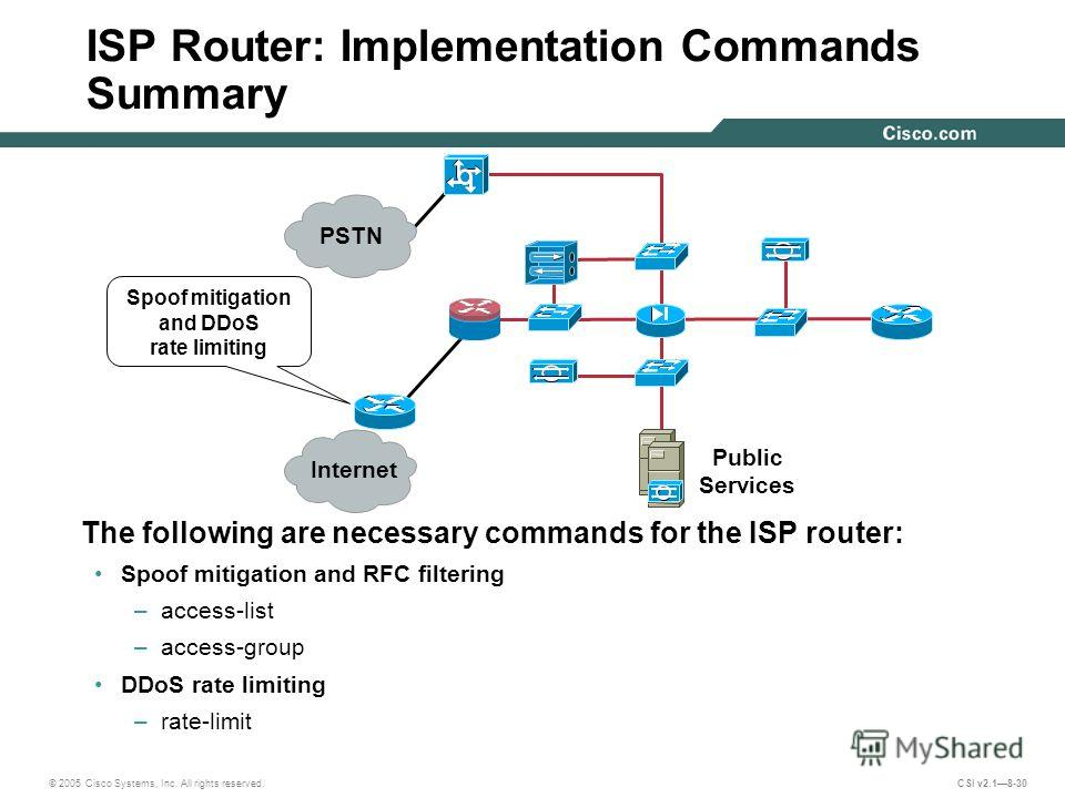 © 2005 Cisco Systems, Inc. All rights reserved. CSI v2.18-30 ISP Router: Implementation Commands Summary The following are necessary commands for the ISP router: Spoof mitigation and RFC filtering –access-list –access-group DDoS rate limiting –rate-l