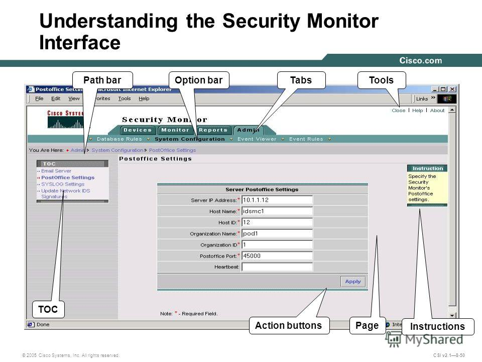 © 2005 Cisco Systems, Inc. All rights reserved. CSI v2.18-50 Understanding the Security Monitor Interface Path bar TOC Option barTabs Instructions Page Tools Action buttons