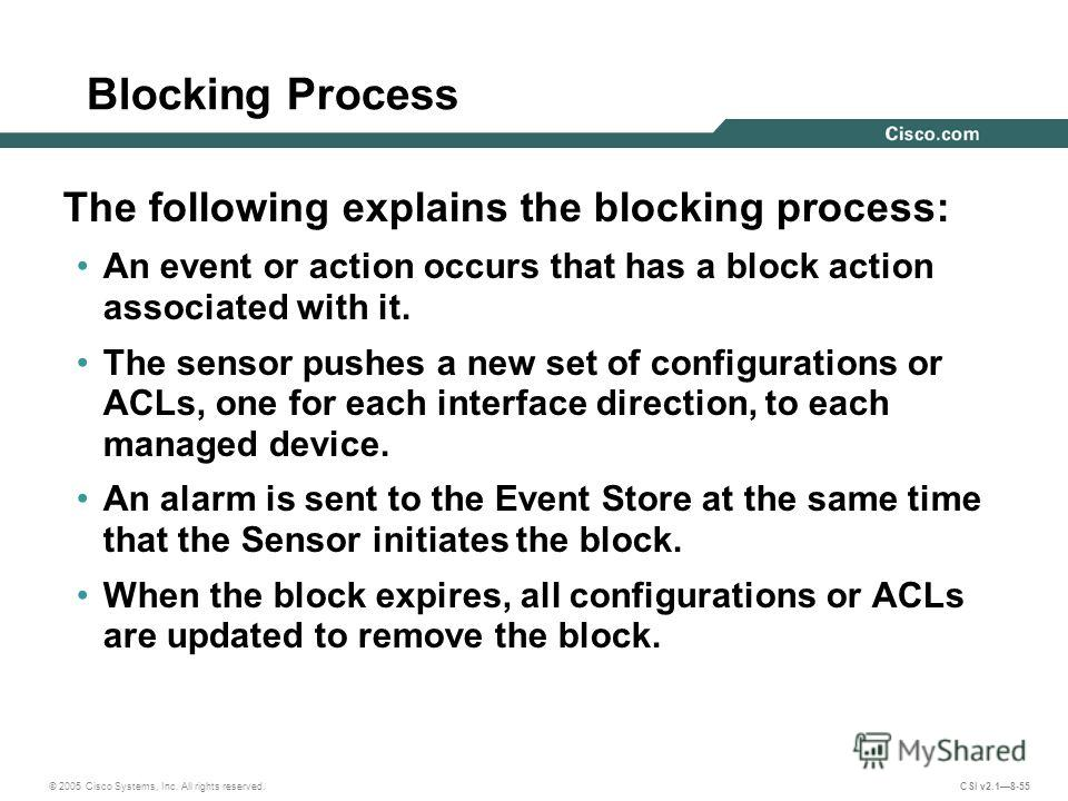 © 2005 Cisco Systems, Inc. All rights reserved. CSI v2.18-55 Blocking Process The following explains the blocking process: An event or action occurs that has a block action associated with it. The sensor pushes a new set of configurations or ACLs, on