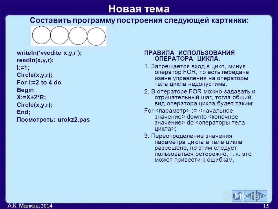 Составить программу построения следующей картинки: writeln(vvedite x,y,r); readln(x,y,r); I:=1; Circle(x,y,r); For I:=2 to 4 do Begin X:=X+2*R; Circle(x,y,r); End; Посмотреть: urokz2. pas ПРАВИЛА ИСПОЛЬЗОВАНИЯ ОПЕРАТОРА ЦИКЛА. 1. Запрещается вход в ц