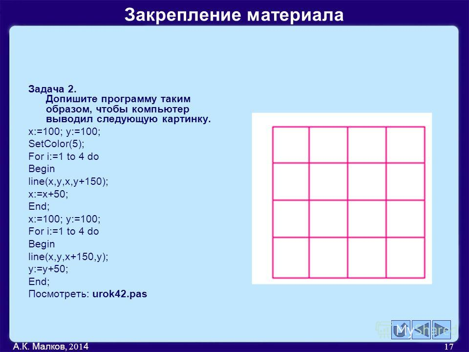 Задача 2. Допишите программу таким образом, чтобы компьютер выводил следующую картинку. x:=100; y:=100; SetColor(5); For i:=1 to 4 do Begin line(x,y,x,y+150); x:=x+50; End; x:=100; y:=100; For i:=1 to 4 do Begin line(x,y,x+150,y); y:=y+50; End; Посмо