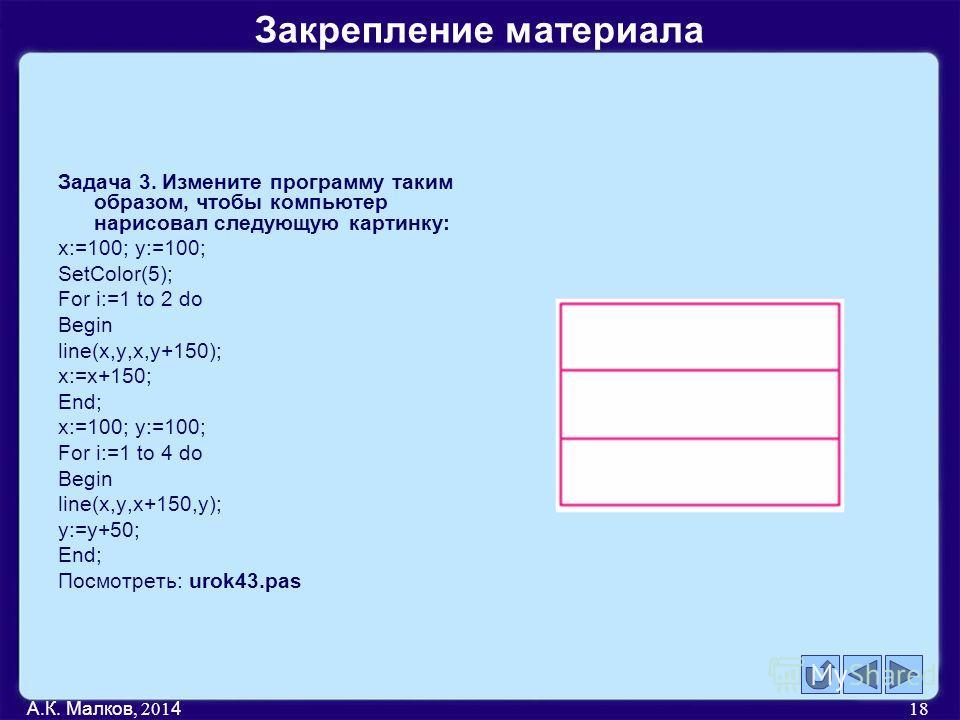 Задача 3. Измените программу таким образом, чтобы компьютер нарисовал следующую картинку: x:=100; y:=100; SetColor(5); For i:=1 to 2 do Begin line(x,y,x,y+150); x:=x+150; End; x:=100; y:=100; For i:=1 to 4 do Begin line(x,y,x+150,y); y:=y+50; End; По