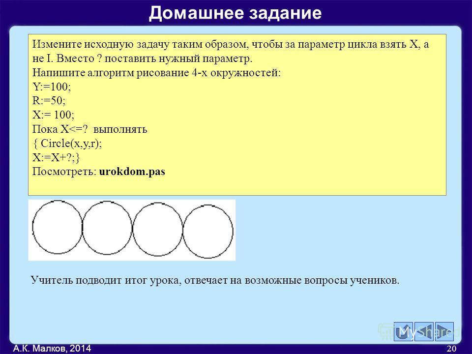 А.К. Малков, 2014 20 Измените исходную задачу таким образом, чтобы за параметр цикла взять Х, а не I. Вместо ? поставить нужный параметр. Напишите алгоритм рисование 4-х окружностей: Y:=100; R:=50; X:= 100; Пока X