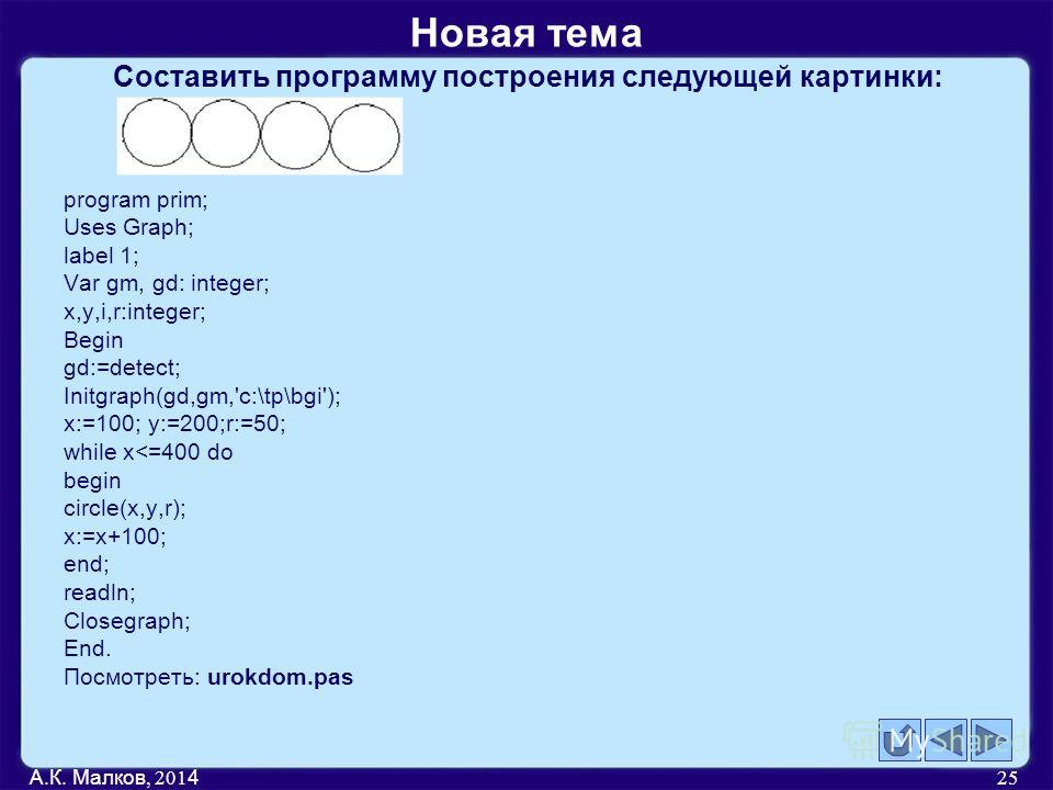 Составить программу построения следующей картинки: program prim; Uses Graph; label 1; Var gm, gd: integer; x,y,i,r:integer; Begin gd:=detect; Initgraph(gd,gm,'c:\tp\bgi'); x:=100; y:=200;r:=50; while x