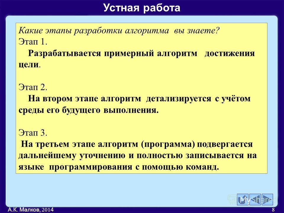 А.К. Малков, 201 4 8 Какие этапы разработки алгоритма вы знаете? Этап 1. Разрабатывается примерный алгоритм достижения цели. Этап 2. На втором этапе алгоритм детализируется с учётом среды его будущего выполнения. Этап 3. На третьем этапе алгоритм (пр