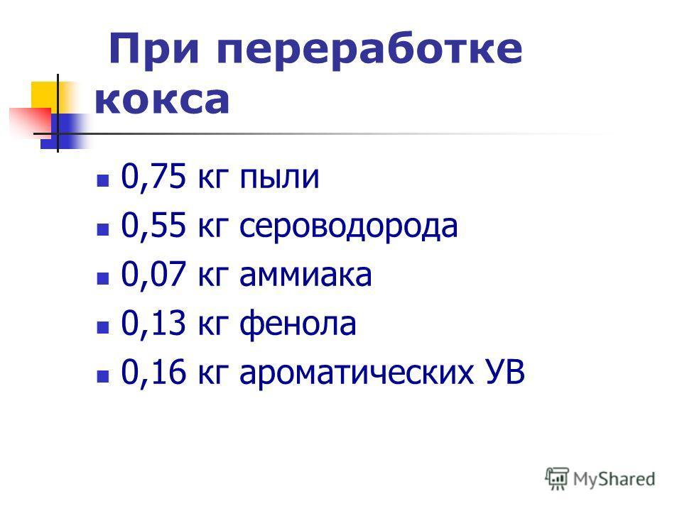 При переработке кокса 0,75 кг пыли 0,55 кг сероводорода 0,07 кг аммиака 0,13 кг фенола 0,16 кг ароматических УВ