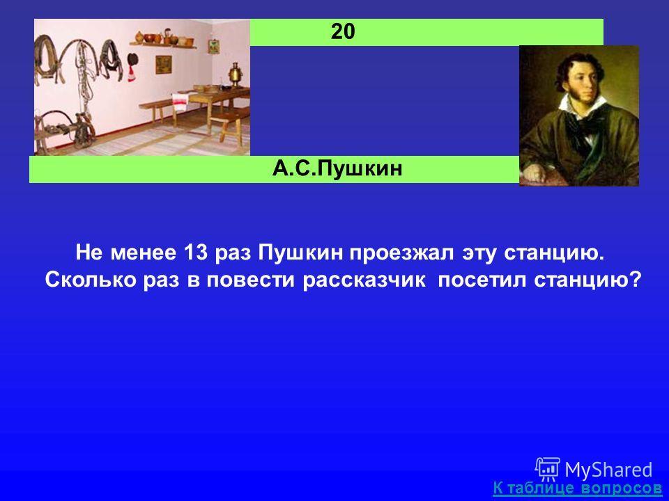 А.С.Пушкин Не менее 13 раз Пушкин проезжал эту станцию. Сколько раз в повести рассказчик посетил станцию? К таблице вопросов 20