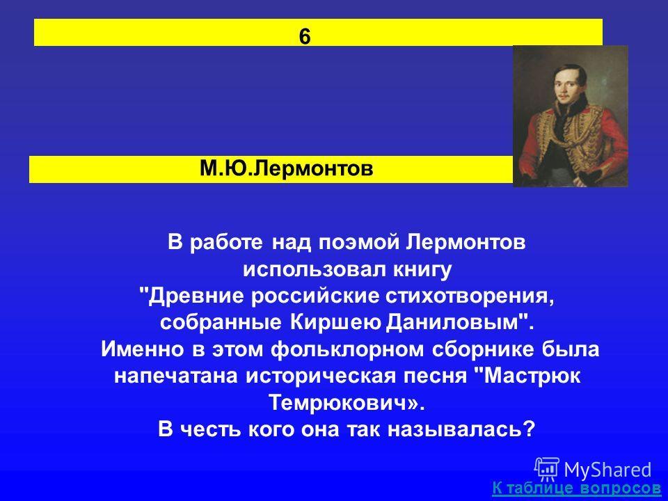 М.Ю.Лермонтов В работе над поэмой Лермонтов использовал книгу