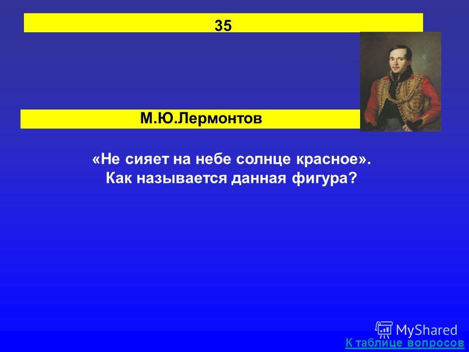 М.Ю.Лермонтов 35 «Не сияет на небе солнце красное». Как называется данная фигура? К таблице вопросов