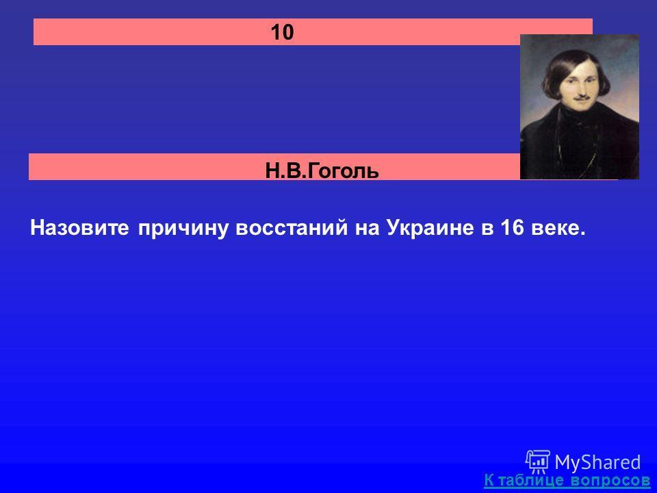 Н.В.Гоголь 10 Назовите причину восстаний на Украине в 16 веке. К таблице вопросов