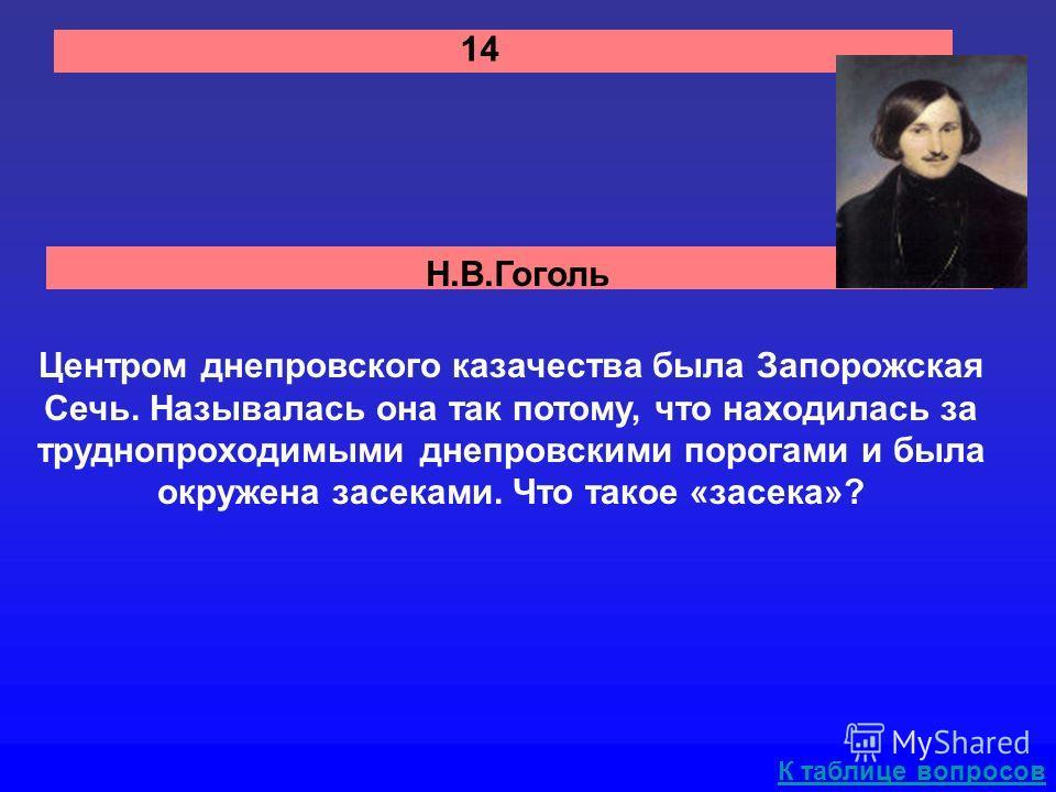 Н.В.Гоголь 14 Центром днепровского казачества была Запорожская Сечь. Называлась она так потому, что находилась за труднопроходимыми днепровскими порогами и была окружена засеками. Что такое «засека»? К таблице вопросов