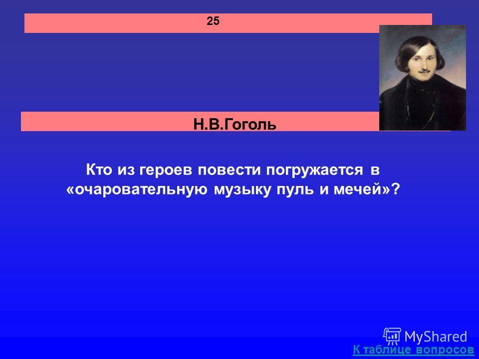 Н.В.Гоголь К таблице вопросов 25 Кто из героев повести погружается в «очаровательную музыку пуль и мечей»?
