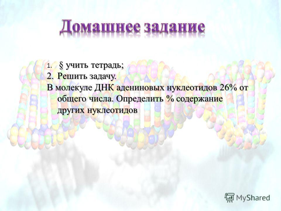§ учить тетрадь; 1. § учить тетрадь; 2. Решить задачу. 2. Решить задачу. В молекуле ДНК адениновых нуклеотидов 26% от общего числа. Определить % содержание других нуклеотидов