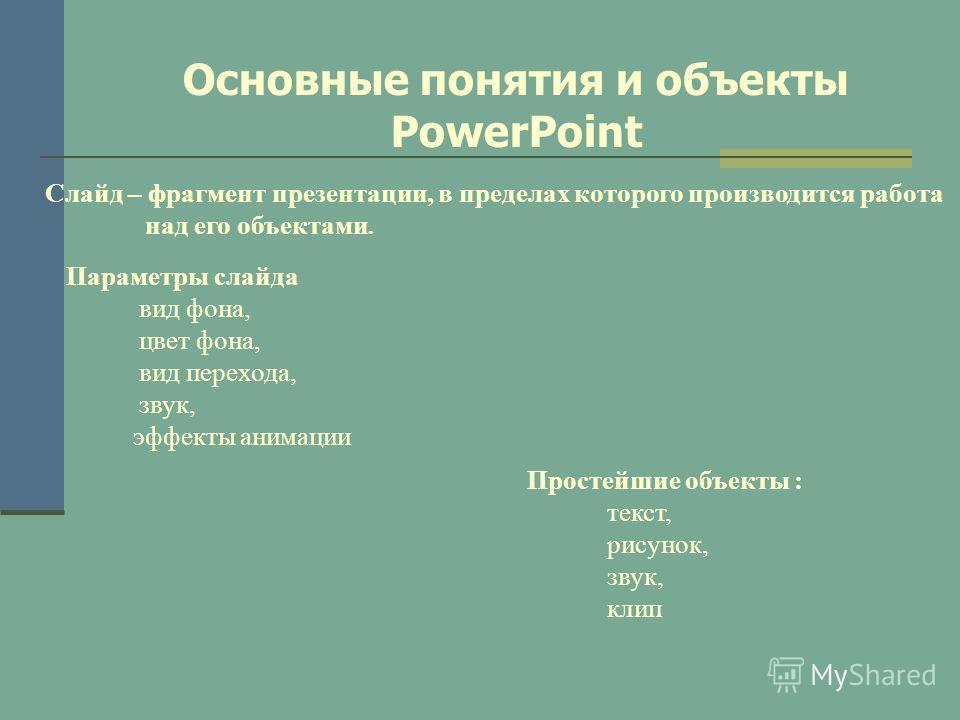 Основные понятия и объекты PowerPoint Слайд – фрагмент презентации, в пределах которого производится работа над его объектами. Параметры слайда вид фона, цвет фона, вид перехода, звук, эффекты анимации Простейшие объекты : текст, рисунок, звук, клип