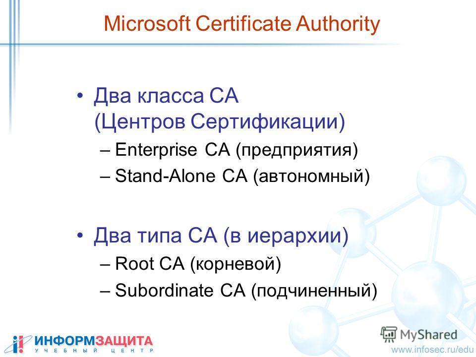 Microsoft Certificate Authority Два класса CA (Центров Сертификации) –Enterprise CA (предприятия) –Stand-Alone CA (автономный) Два типа СА (в иерархии) –Root CA (корневой) –Subordinate CA (подчиненный)
