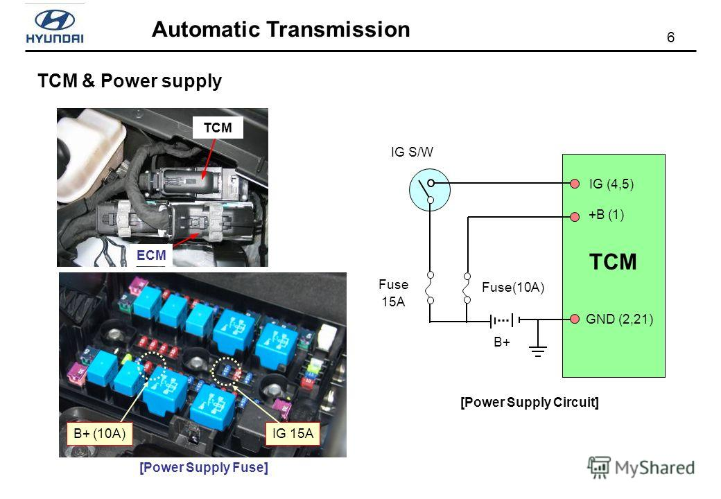 6 Automatic Transmission TCM & Power supply TCM ECM B+ Fuse 15A Fuse(10A) IG S/W TCM +B (1) IG (4,5) GND (2,21) [Power Supply Circuit] IG 15A [Power Supply Fuse] B+ (10A)