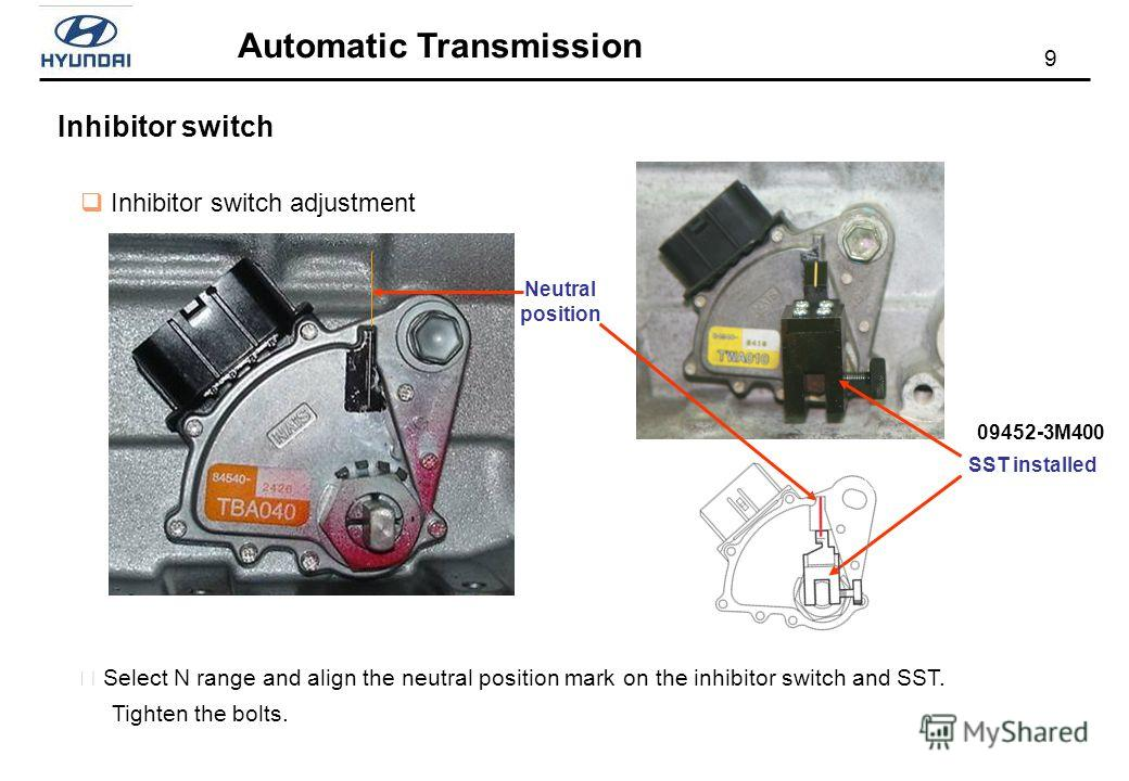 9 Automatic Transmission Inhibitor switch Inhibitor switch adjustment Neutral position SST installed Select N range and align the neutral position mark on the inhibitor switch and SST. Tighten the bolts. 09452-3M400