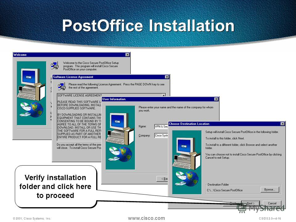 © 2001, Cisco Systems, Inc. www.cisco.com CSIDS 2.04-16 PostOffice Installation Verify installation folder and click here to proceed