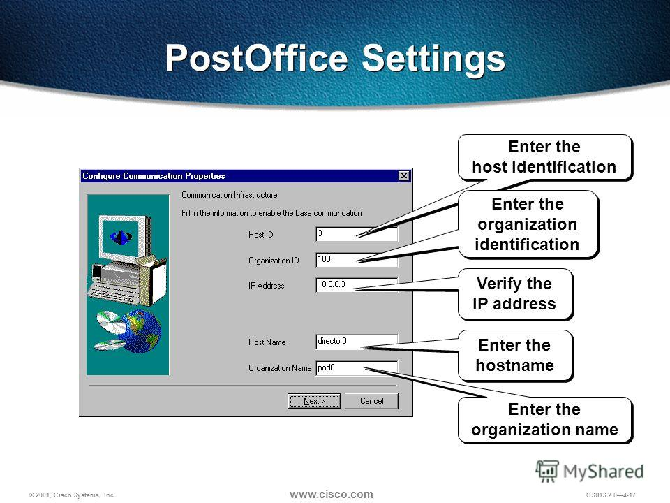 © 2001, Cisco Systems, Inc. www.cisco.com CSIDS 2.04-17 PostOffice Settings Verify the IP address Enter the hostname Enter the host identification Enter the organization identification Enter the organization name