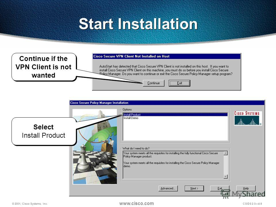 © 2001, Cisco Systems, Inc. www.cisco.com CSIDS 2.04-9 Select Install Product Start Installation Continue if the VPN Client is not wanted