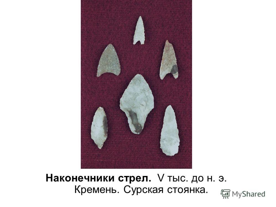 Наконечники стрел. V тыс. до н. э. Кремень. Сурская стоянка.