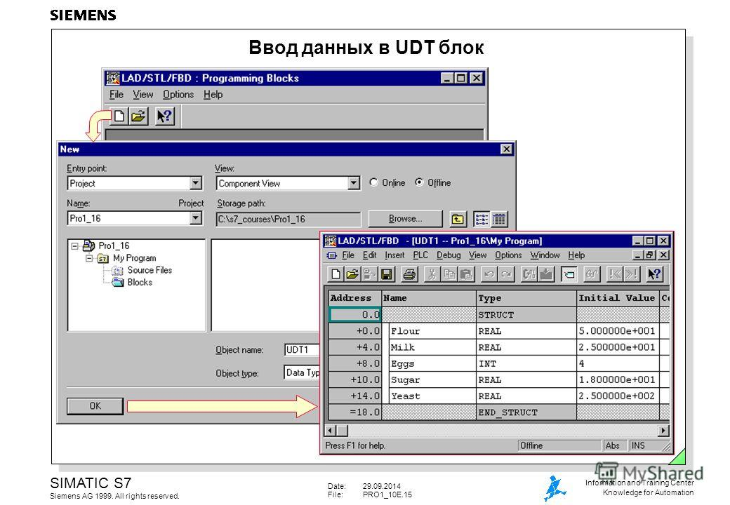 Date:29.09.2014 File:PRO1_10E.15 SIMATIC S7 Siemens AG 1999. All rights reserved. Information and Training Center Knowledge for Automation Ввод данных в UDT блок