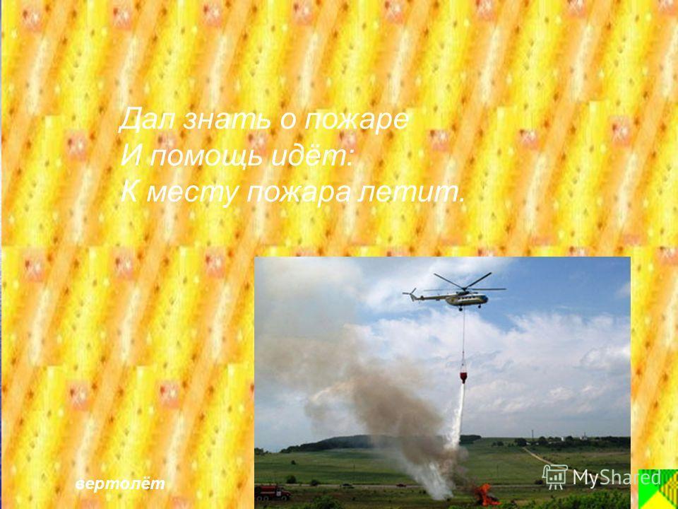 Дал знать о пожаре И помощь идёт: К месту пожара летит. вертолёт