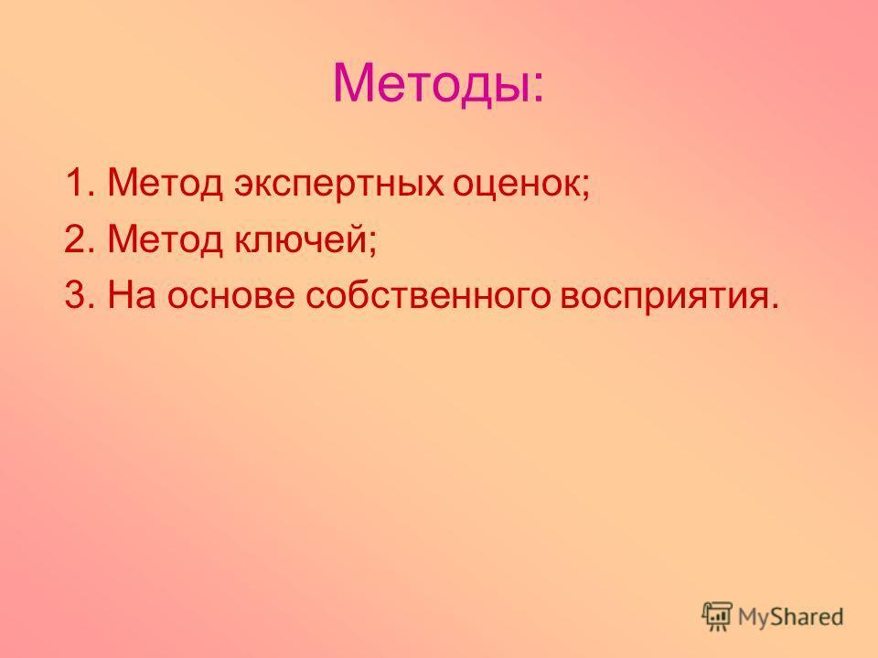 Методы: 1. Метод экспертных оценок; 2. Метод ключей; 3. На основе собственного восприятия.