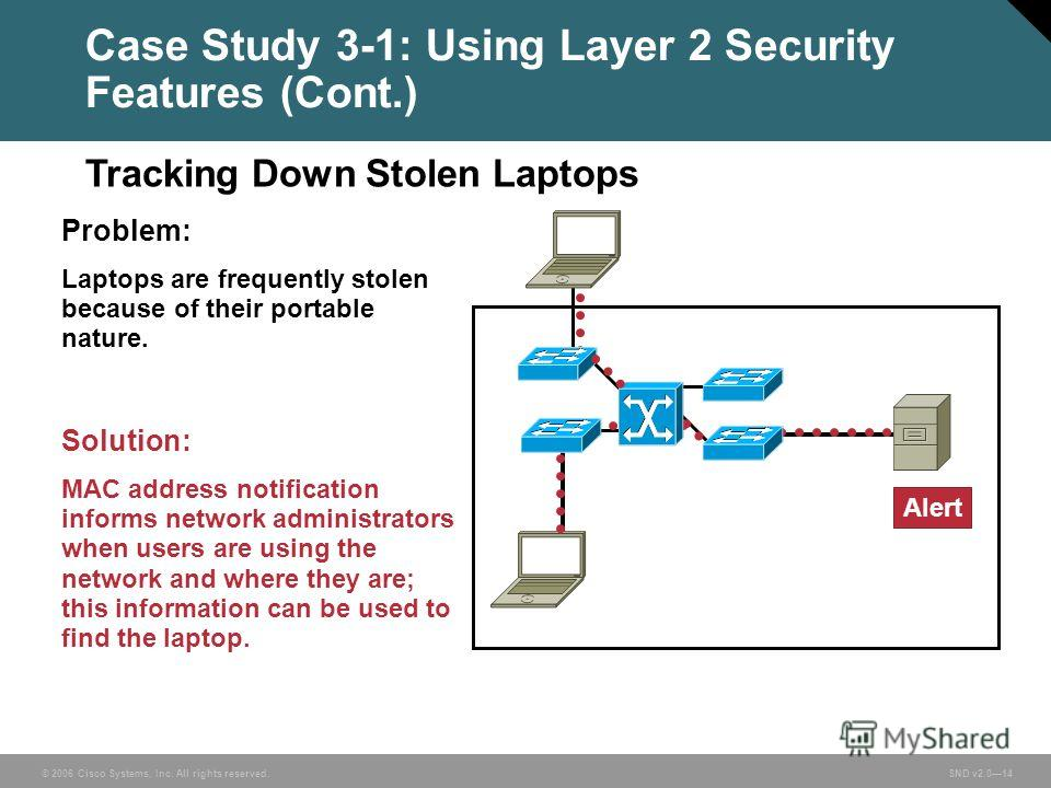 © 2006 Cisco Systems, Inc. All rights reserved. SND v2.014 Case Study 3-1: Using Layer 2 Security Features (Cont.) Problem: Laptops are frequently stolen because of their portable nature. Solution: MAC address notification informs network administrat