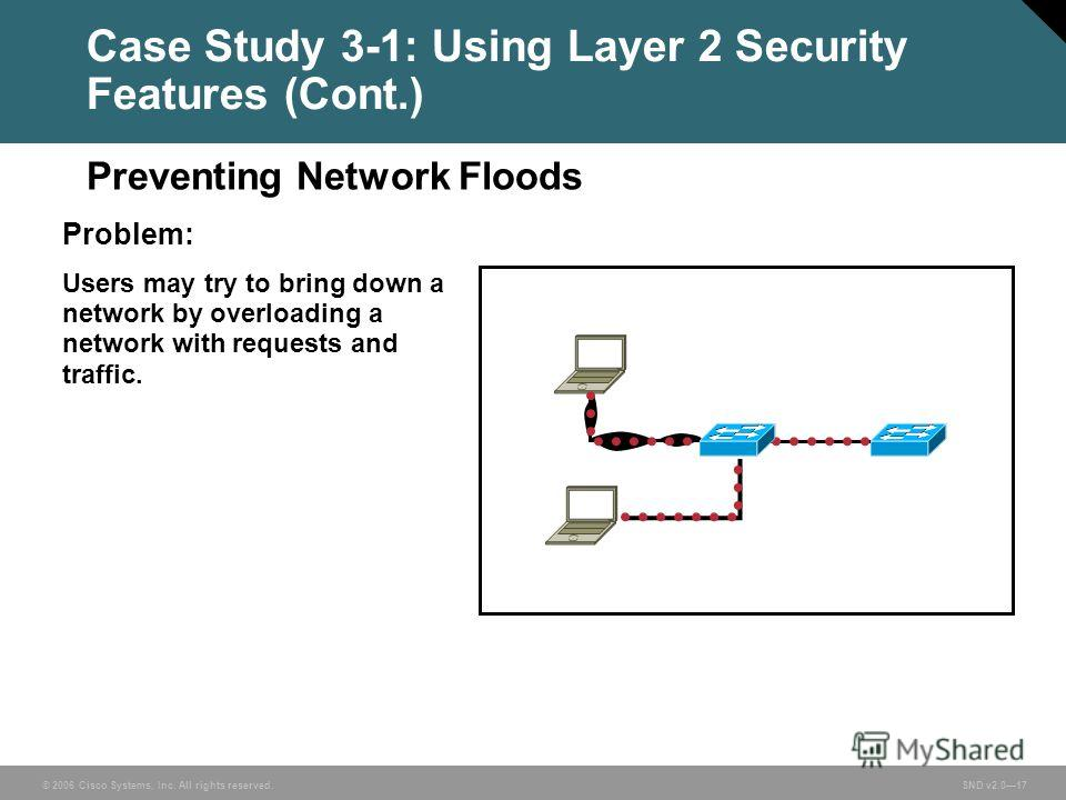 © 2006 Cisco Systems, Inc. All rights reserved. SND v2.017 Case Study 3-1: Using Layer 2 Security Features (Cont.) Problem: Users may try to bring down a network by overloading a network with requests and traffic. Preventing Network Floods