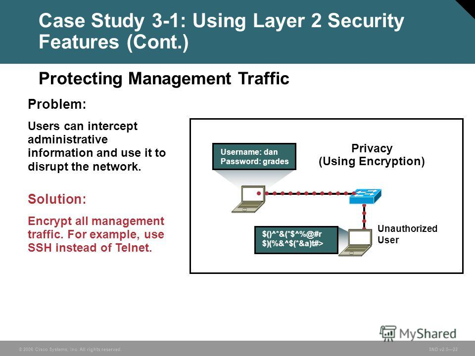 © 2006 Cisco Systems, Inc. All rights reserved. SND v2.022 Case Study 3-1: Using Layer 2 Security Features (Cont.) Problem: Users can intercept administrative information and use it to disrupt the network. Solution: Encrypt all management traffic. Fo