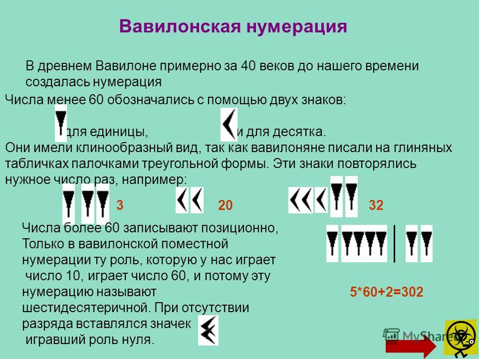 В древнем Вавилоне примерно за 40 веков до нашего времени создалась нумерация Вавилонская нумерация Числа менее 60 обозначались с помощью двух знаков: для единицы, и для десятка. Они имели клинообразный вид, так как вавилоняне писали на глиняных табл
